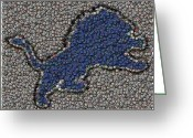 Bottle Cap Greeting Cards - Lions Bottle Cap Mosaic Greeting Card by Paul Van Scott