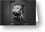 Knob Greeting Cards - Lions Head Greeting Card by Eric Gendron