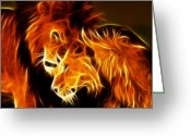 Leopards Greeting Cards - Lions in Love Greeting Card by Pamela Johnson