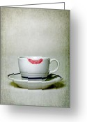 Marks Greeting Cards - Lip Marks Greeting Card by Joana Kruse