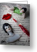 Doll Greeting Cards - Lips pen and old letter Greeting Card by Garry Gay