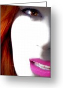 Redhead Greeting Cards - Lips Greeting Card by Steven  Digman