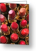 Lipsticks Greeting Cards - Lipstick Rows Greeting Card by Garry Gay