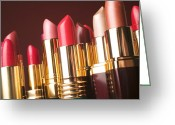 Cosmetics Greeting Cards - Lipstick tubes Greeting Card by Garry Gay