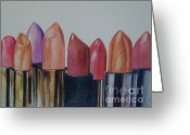 Lipsticks Greeting Cards - Lipsticks Greeting Card by Anna Mize Bell