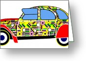 Asbjorn Lonvig Greeting Cards - Liqourice Allsorts - Virtual Car Greeting Card by Asbjorn Lonvig