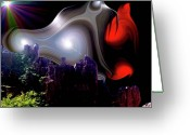Outerspace Greeting Cards - Liquid Night Greeting Card by Steven Love