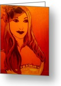 Shoulder Painting Greeting Cards - Lisa Darling II - The Irish Burlesque School Greeting Card by John  Nolan