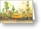 Yellow Drawings Greeting Cards - Lisas Journey02 Greeting Card by Kestutis Kasparavicius
