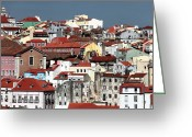 Colorful Buildings Greeting Cards - Lisbon Cityscape I Greeting Card by John Rizzuto