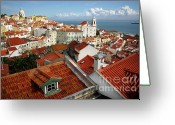 Ancient Architecture Greeting Cards - Lisbon Rooftops Greeting Card by Carlos Caetano