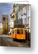 Ancient Architecture Greeting Cards - Lisbon Tram Greeting Card by Carlos Caetano