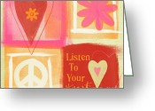 Orange Greeting Cards - Listen To Your Heart Greeting Card by Linda Woods