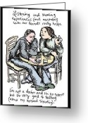 Talking Drawings Greeting Cards - Listening and Sharing Greeting Card by Erella Ganon