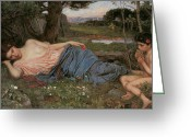 John William Waterhouse Greeting Cards - Listening to my Sweet Pipings Greeting Card by John William Waterhouse
