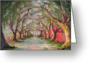 Tree Allee Greeting Cards - Litchfield Carriage House Greeting Card by Cecelia Campbell