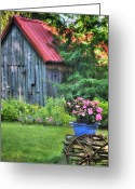 Fence Greeting Cards - Litchfield Hills Summer Scene Greeting Card by Thomas Schoeller
