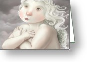 Whimsical Greeting Cards - Little Angel Greeting Card by Simon Sturge