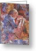 Easel Greeting Cards - Little Artist Greeting Card by Kenneth Young