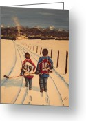 Minor Hockey Greeting Cards - Little Avs Greeting Card by Ron  Genest