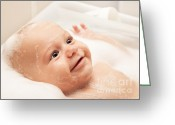 Bathe Greeting Cards - Little baby taking bath Greeting Card by Anna Omelchenko