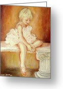 Baby Girl Greeting Cards - Little Ballerina Greeting Card by Carole Spandau