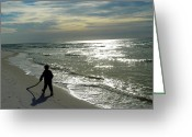 Grayton Beach Greeting Cards - Little Beachcomber Greeting Card by Judy Wanamaker