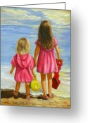 Girls Greeting Cards - Little Beachcombers Greeting Card by Joni McPherson