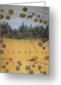 Trees Tapestries - Textiles Greeting Cards - Little Bird and Fence Greeting Card by Carolyn Doe
