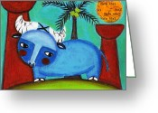 Island Cultural Art Greeting Cards - Little Blue Carabao Greeting Card by Jennifer R S Andrade