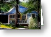 Blue House Greeting Cards - Little Blue House Cape Cod  Greeting Card by Marjorie Imbeau