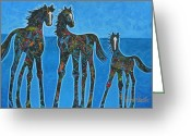 Dallas Cowboys Painting Greeting Cards - Little Blue Greeting Card by Lance Headlee