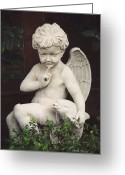 Little Boy Photo Greeting Cards - Little Boy Angel Art With Dolphin Greeting Card by Kathy Fornal