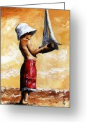 Sunny Painting Greeting Cards - Little boy in the beach Greeting Card by Emerico Toth