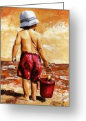 Sunny Painting Greeting Cards - Little Boy on the Beach II Greeting Card by Emerico Toth