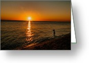 Little Boy Photo Greeting Cards - Little Boy Wading At Sunset Greeting Card by Linda Pulvermacher