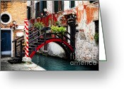 Foot Bridge Greeting Cards - Little Bridge in Venice Greeting Card by George Oze