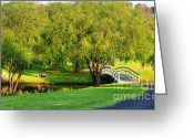 Foot Bridge Greeting Cards - Little Bridge over the River Greeting Card by Kaye Menner