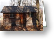 Log Cabin Photographs Greeting Cards - Little Cabin In The Woods Greeting Card by Robert Margetts