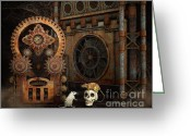 Steampunk Digital Art Greeting Cards - Little Chat Greeting Card by Jutta Maria Pusl