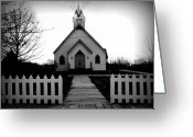 Easter Digital Art Greeting Cards - Little Church B and W Greeting Card by Julie Hamilton