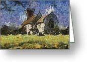Van Gogh Sky Mixed Media Greeting Cards - Little Church Greeting Card by Mike Bambridge