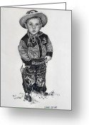 Cowboy Pencil Drawing Greeting Cards - Little Cowboy Greeting Card by Carmen Del Valle