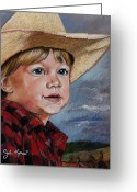 Cowboy Pastels Greeting Cards - Little Cowboy Greeting Card by John Keaton