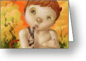 Naughty Greeting Cards - Little Devil Greeting Card by Simon Sturge