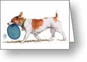Chihuahua Greeting Cards - Little Dog with Blue Frisbee Greeting Card by Debra Jones