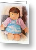 Puppet Greeting Cards - Little Doll Greeting Card by Lutz Baar