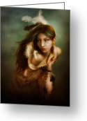 Native Digital Art Greeting Cards - Little Dove Greeting Card by Karen Koski
