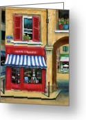 Stores Greeting Cards - Little French Book Store Greeting Card by Marilyn Dunlap