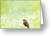 Little Bird Greeting Cards - Little friends Greeting Card by Angela Doelling AD DESIGN Photo and PhotoArt